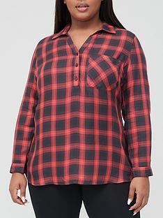 v-by-very-curve-v-neck-check-shirt-red-check