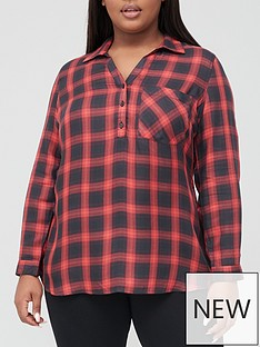 v-by-very-curve-v-neck-check-shirt-red-check