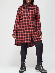 v-by-very-curve-check-shirt-dress-red-check