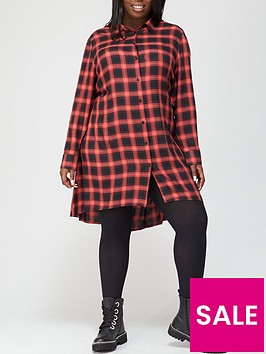 v-by-very-curve-check-shirt-dress-red-check