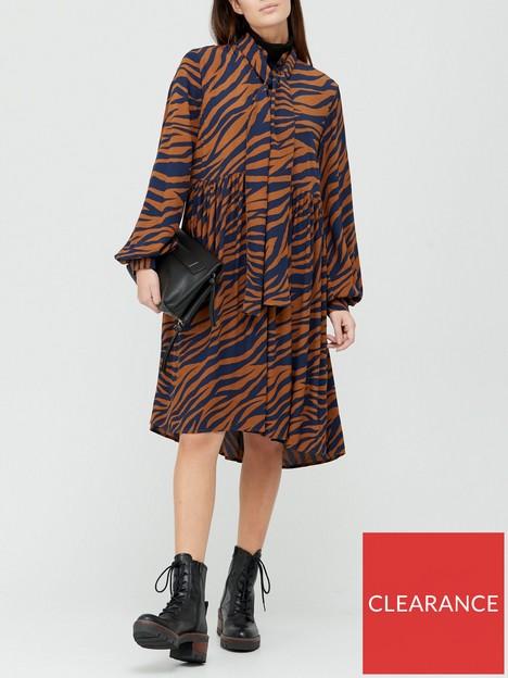 gestuz-enise-zebra-print-dress-navybrown