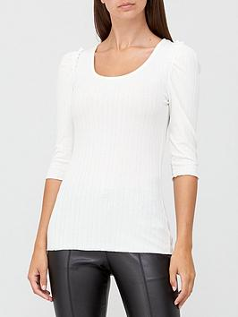 v-by-very-ribbed-scoop-neck-puff-sleeve-top-white