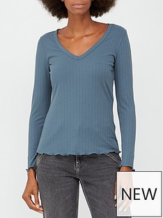 v-by-very-ribbed-v-neck-lettuce-edge-top-greyblue