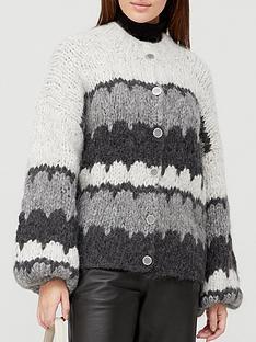 gestuz-jess-stripe-chunky-cardigan-grey
