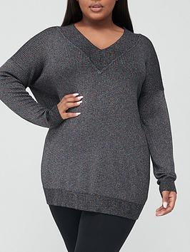 V By Very Curve V-Neck Lurex Knitted Tunic Jumper - Black