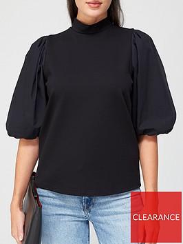 gestuz-bima-turtleneck-puff-sleeve-blouse-black