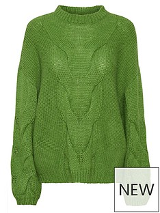 gestuz-anura-oversized-cable-knit-jumper-green
