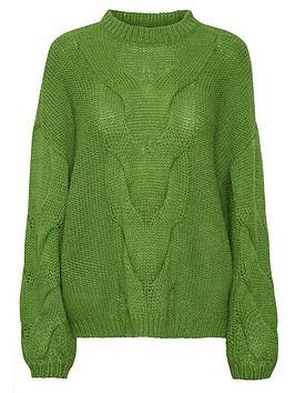 gestuz-anura-oversized-cable-knit-jumper-green