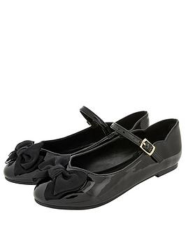 Monsoon Girls Emery Patent Bow Ballerina - Black