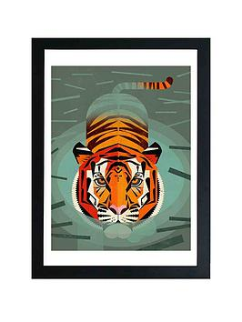 east-end-prints-swimming-tiger-by-dieter-braun-a3-framed-wall-art