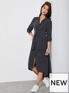 mint-velvet-charcoal-tie-front-shirt-dress-dark-grey