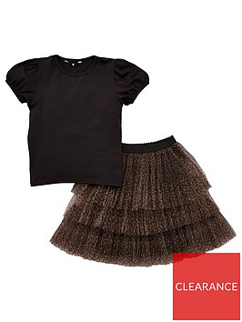 v-by-very-girls-puff-sleeve-top-and-tulle-animal-skirt-set-navy