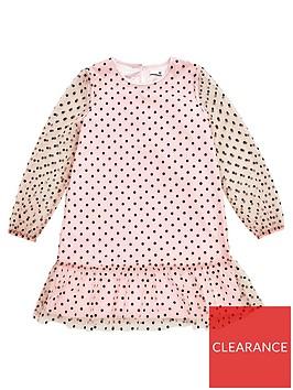 v-by-very-girls-flock-spot-organza-mesh-dress-pink