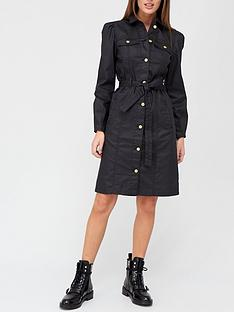 v-by-very-coated-denim-belted-midi-dress-black