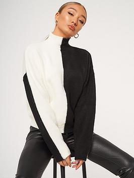 missguided-colourblock-high-neck-jumper