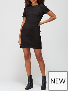 v-by-very-suedette-t-shirt-dress-black