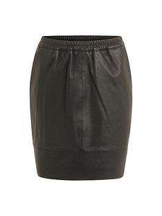coster-copenhagen-elastic-waist-leather-skirt-black
