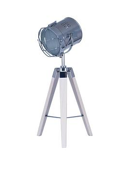 Pacific Lifestyle Wood And Metal Tripod Table Lamp