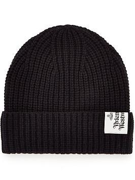 vivienne-westwood-menrsquos-logo-knitted-beanie-hat-black