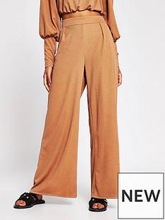 river-island-crinkle-jersey-wide-leg-trouser-tan