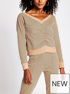 river-island-ruched-front-monogramnbspsweater-brown