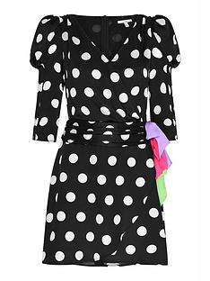olivia-rubin-ren-polka-dot-wrap-mini-dress-black