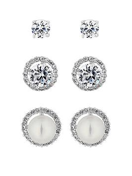 jon richard silver pearl and crystal stud earrings - pack of 3