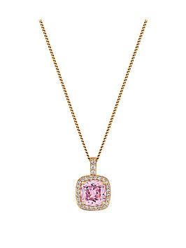 simply-silver-14ct-rose-gold-plated-sterling-silver-pink-cubic-zirconia-square-halo-necklace