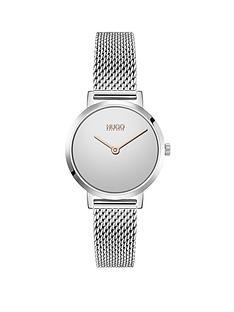 hugo-cherish-silver-dial-stainless-steel-mesh-bracelet-watch