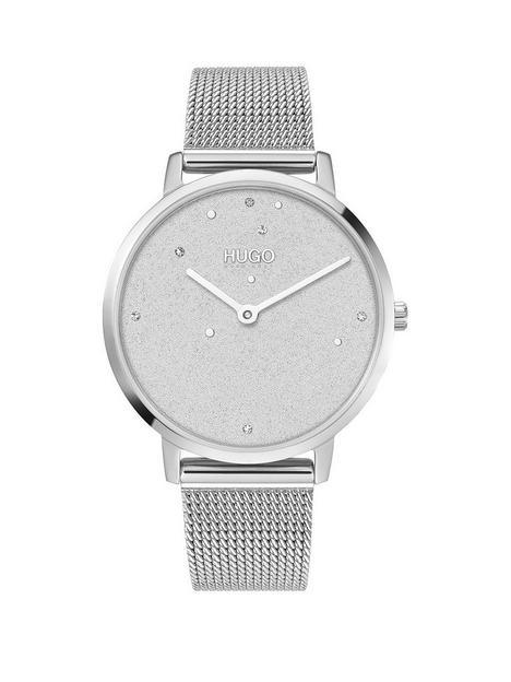 hugo-dream-silver-dial-stainless-steel-mesh-bracelet-watch