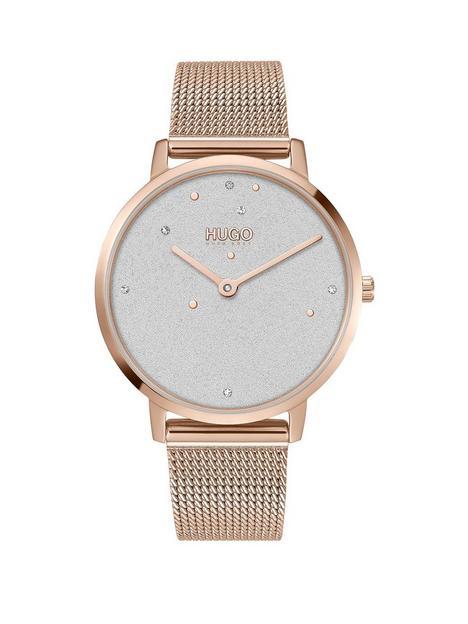 hugo-dream-white-dial-stainless-steel-rose-tone-mesh-bracelet-watch