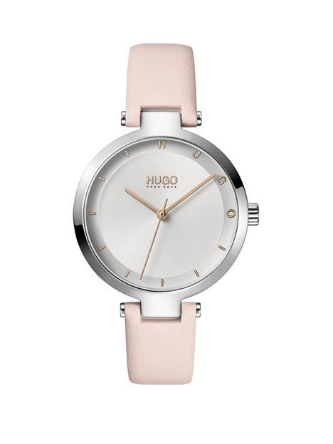hugo-hope-silver-dial-pink-leather-strap-watch