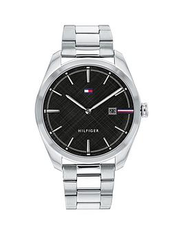 Tommy Hilfiger Tommy Hilifger Black Dial Stainless Steel Bracelet Watch, One Colour, Men