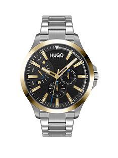 hugo-hugo-leap-black-multi-dial-gold-tone-bezel-stainless-steel-bracelet-watch