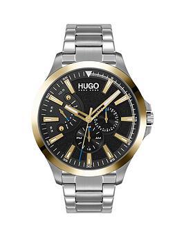 hugo-leap-black-multi-dial-gold-tone-bezel-stainless-steel-bracelet-watch