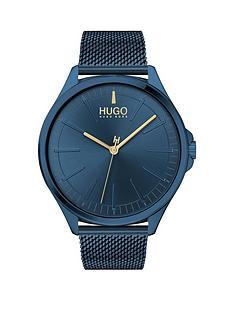 hugo-hugo-smash-blue-dial-blue-mesh-strap-watch