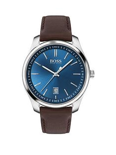 boss-circuit-blue-date-dial-brown-leather-strap-watch
