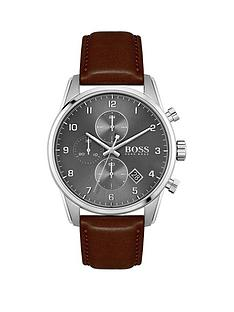 boss-grey-dial-chronograph-bronze-ip-strap-watch