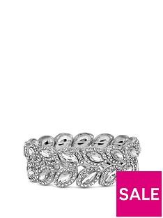 mood-silver-plated-crystal-pave-statement-leaf-stretch-bracelet