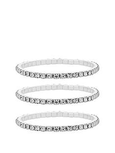 mood-silver-plated-crystal-stretch-bracelets-pack-of-3
