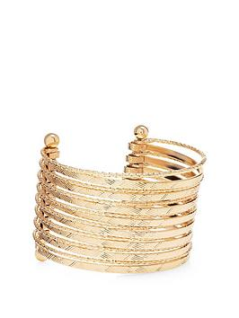 mood-gold-plated-texture-cuff-bracelet