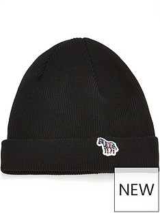 ps-paul-smith-menrsquos-zebra-logo-knitted-beanie-hat-black