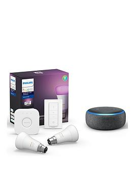 Philips Hue White and Colour Ambiance Wireless Lighting LED Starter Kit with 2 E27 Bulbs & Bridge