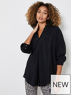 mint-velvet-throw-on-shirt-black