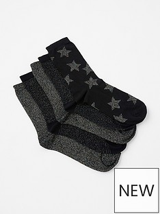 accessorize-multi-sparkle-socks-5-pack-black