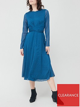 v-by-very-dobby-twist-front-midi-dress-navy