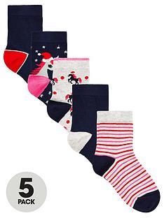 v-by-very-girls-5-pack-christmas-unicorn-socks-multi