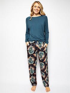 cyberjammies-elena-printed-trouser-jersey-long-sleeve-set-teal