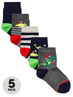 v-by-very-boys-5-pack-christmas-dinosaur-socks-multi