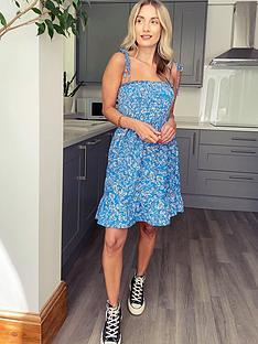topshop-shirred-flippy-mini-dress-blue